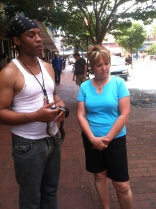 Connie witnessing to guy in Baltimore