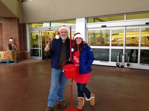 Me and Anika ringing the Salvation Army Bell